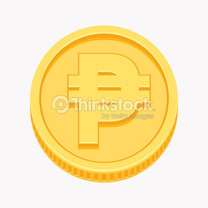 Philippine Peso Currency Symbol On Gold Coin Vector Art Thinkstock