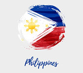 Background with round grunge watercolor imitation Philippines flag. Template for national holiday, Independence day holiday poster, banner, flyer, invitation, etc.