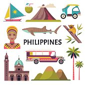 Vector collection of Philippine culture and nature images, including Fort Santiago, portrait of a woman, tricycle, jeepney and a whale shark. Isolated on white.