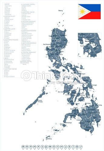 Karte Philippinen.Philippinen Karte Und Flagge Detaillierte Vektorillustration