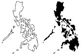 Philippines map vector illustration, scribble sketch Philippines