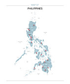 Philippines vector map. Editable template with regions, cities, red pins and blue surface on white background.