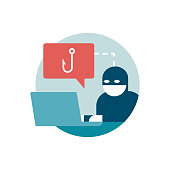 Hacker trying to steal passwords online: phishing, scam and malware concept