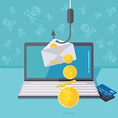 Phishing via internet vector illustration. Fishing by email spoofing or instant messaging. Hacking credit card or personal website. Cyber banking account attack. Online sucurity.