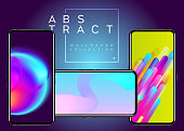 Phone Abstract Futuristic Wallpaper Collection. Creative Colorful Background on Device Display. Neon, Fluid, Geometric Wallpapers. Bright Blue, Green, Pink Colors. Modern Minimal Design.