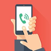 Phone call, incoming call, answer, ringing phone concepts. Hand holding smartphone with green handset icon and waves, Finger touching screen. Modern flat design graphic elements. Vector illustration