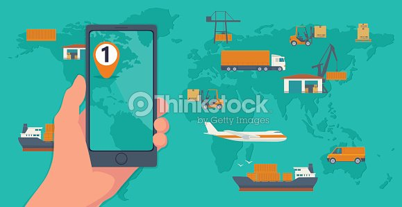 Phone with interface mobile app for cargo service on a screen phone with interface mobile app for cargo service on a screen logistic concept flat banner production process from factory to the shop top view world map gumiabroncs Image collections