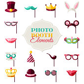 Photo Booth Eements Isolated on White Background. Vector illustration. Rabbit Ears, Detective Hat and Pipe, Carnival Masks, Smiling Lips, Princess Crown.