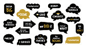 Graduation party photo booth props. Photobooth vector set. Congrats grad phrase. Gold and black bubbles with funny quotes. Concept for selfie.