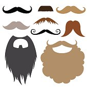 Props set. Moustache and beard. Moustache and beard party birthday photo booth props. Vector illustration photo booth props.