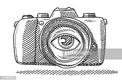 Photo Camera Eye On Lens Drawing Vector Art | Getty Images