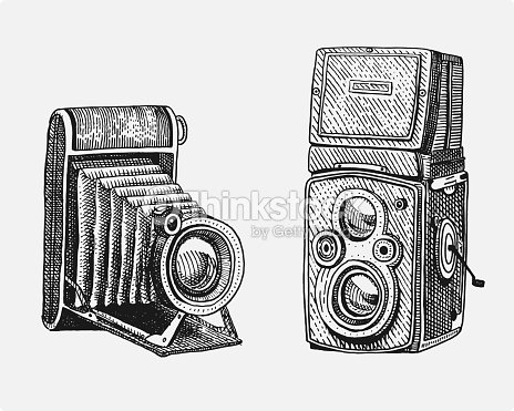 Camera Vintage Vector Free : Photo camera set vintage engraved hand drawn in sketch or wood cut