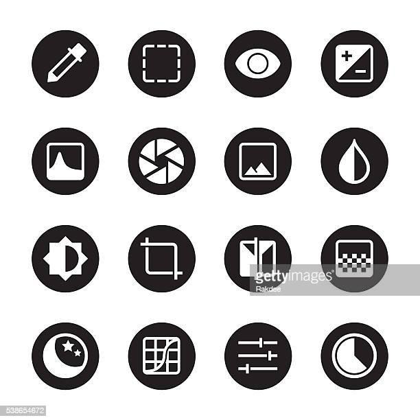 Photo Editor Icons - Black Circle Series