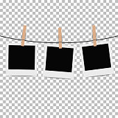 Photo frame hung on rope with clothespin on transparent background. Vector illustration