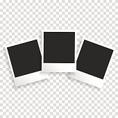 Photo frame on a transparent background with a realistic paper texture and shadow. Can be used to design photo albums, promo, advertising, etc.Photo frame on a transparent background with a realistic