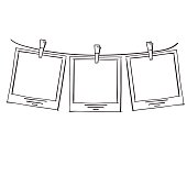 Photo frames on rope doodle sketch, vector.