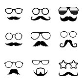 Photo props collections. Retro party set with glasses, mustache, beard, hats and lips. Vector illustration