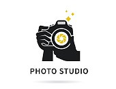 Photographer hands with camera icon or logo template. Flat illustration of lens camera shooting macro image with flash and text ideal photo