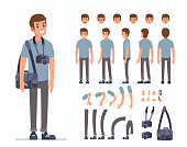 Man photographer  character constructor and objects for animation scene. Set of various men's poses, faces, mouth, hands, legs. Flat style vector illustration isolated on white background.