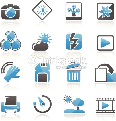 Fotos Und Kamera Funktion Symbole Vektorgrafik | Thinkstock