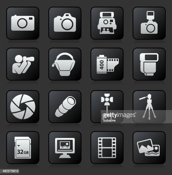 Photography icon set on Black Background