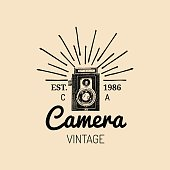 Photography icon. Vector vintage old camera label, badge, emblem. Hand sketched illustration for studio, store etc