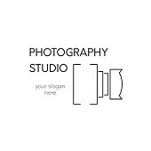 Vector thin line icon, camera silhouette. icon template illustration for photographer, photography studio, shop or school. Black on white isolated symbol. Simple mono linear modern design.