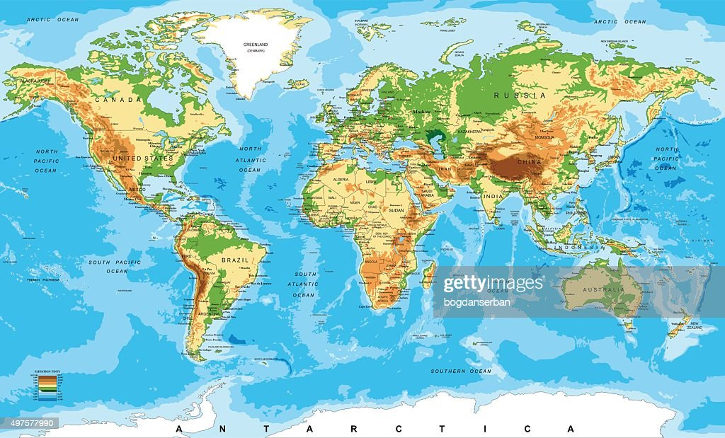 Physical Map Of The World : Vector Art