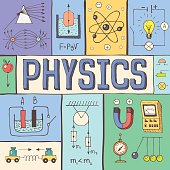 Physics hand drawn colorful vector illustration with doodle physical formulas, schemes and objects, isolated on background.