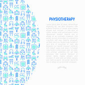 Physiotherapy concept with thin line icons: rehabilitation, physiotherapist, acupuncture, massage, gymnastics, go-carts, vertebrae; x-ray, trauma, crutches, wheelchair. Vector illustration.