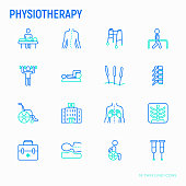 Physiotherapy thin line icons set: rehabilitation, physiotherapist, acupuncture, massage, gymnastics, go-carts, vertebrae; x-ray, trauma, crutches, wheelchair, orthopedic pillow. Vector illustration.