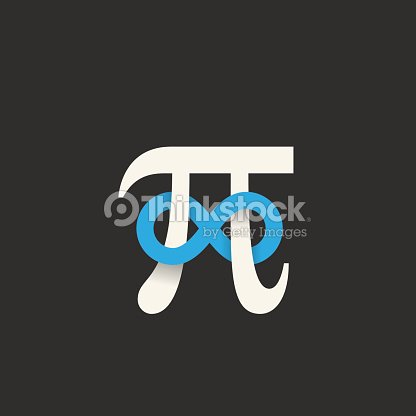 Pi Symbol With Infinity Sign Abstract Vector Icon Label Logo Vector
