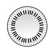 Circle frame of piano keyboard on white background. vector illustration