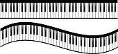Piano keyboards vector illustrations. Various angles and views