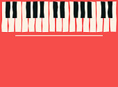 Piano keys. Music poster template. Jazz and blues music concert background. Vector