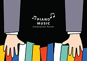 Piano music Poster A4 illustration vector. Music concept.