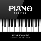Piano recital poster, leaflet or invitation design template. Vector illustration with transparent effect, eps10.