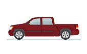 Pickup truck  isolated on white background. Flat style, vector illustration.