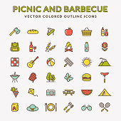 Picnic and barbecue web icons. Set of colored line symbols for outdoor recreation theme. Collection of green, yellow, blue and red outline elements isolated on white background. Vector illustration.