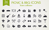 Picnic and barbecue web icons. Set of black symbols for a summer outdoor recreation theme. Vector collection of silhouette elements isolated on white background.