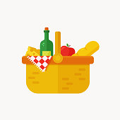 Picnic basket flat icon. Modern vector illustration isolated on white background.