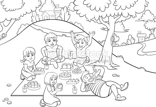 Picnic For Colouring Vector Art