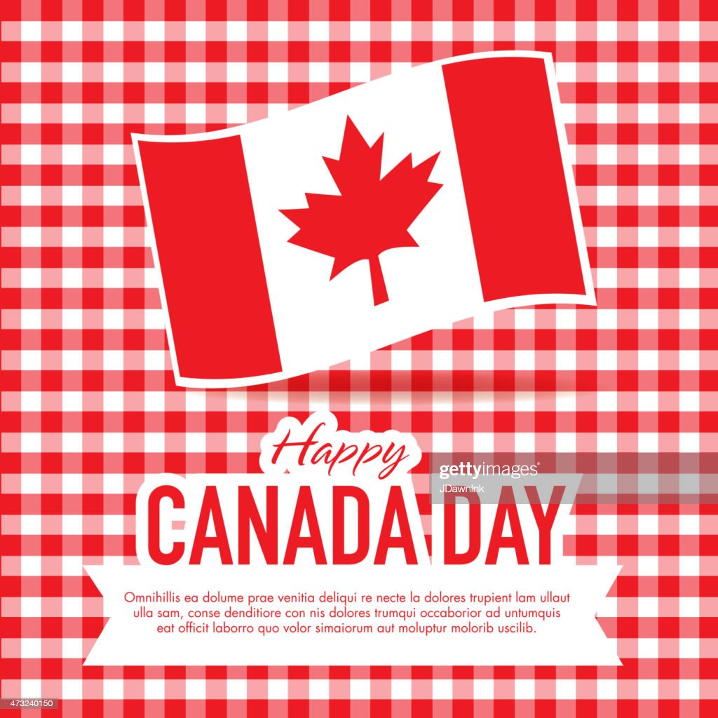 picnic happy canada day celebration greeting card design template