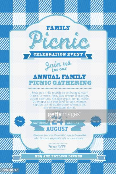 Picnic invitation design template blue check background