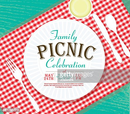 Picnic Invitation Design Template On Teal Wood Vector Art | Getty