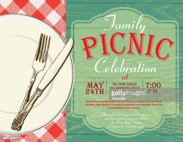 Family Picnic Invitation Template With Checked Tablecloth Vector – Picnic Invitation Template