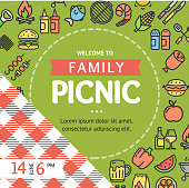 Picnic Invitation Placard Banner Card with Thin Line Icon Round Design Template Frame or Border for Text. Vector illustration