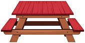 Picnic table painted in red illustration