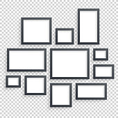 Picture frames vector. Photo art gallery. Dark Blank Frames Collection on Wall with Transparent Realistic Shadow. Modern Decor