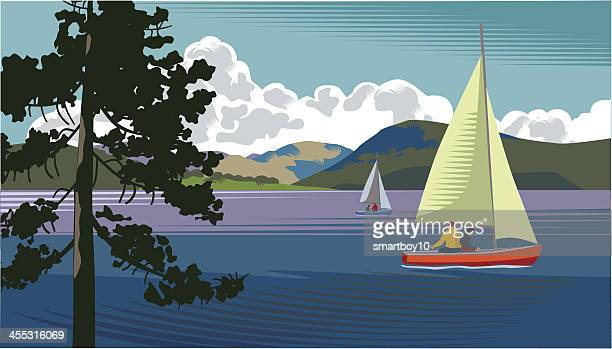 Picture of a sailing boat on a lake